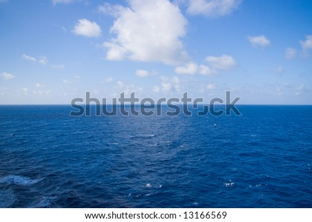 sea and sky in caribbean horizontal position - stock photo