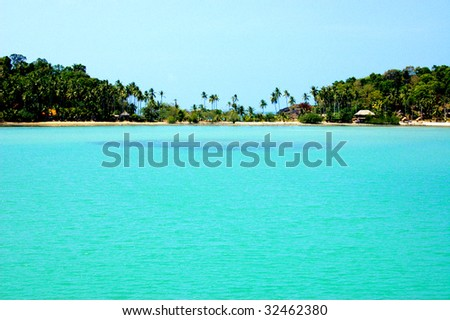sea and sky in tropical island - stock photo