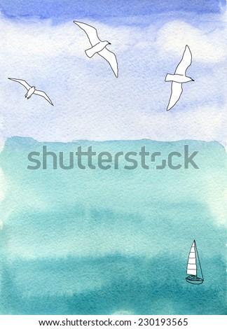 sea and sky, seascape - stock photo