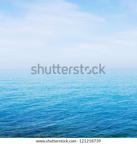sea and sky with haze on horizon ; nature background - stock photo
