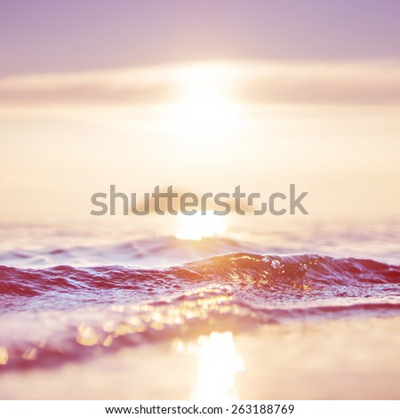 sea and sun background. vintage red color style - stock photo