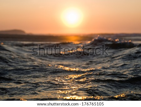 Sea and sun in an abstract landscape - stock photo