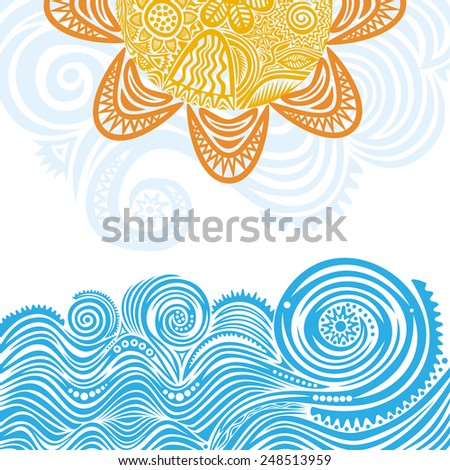 Sea and sun nature pattern background illustration - stock photo