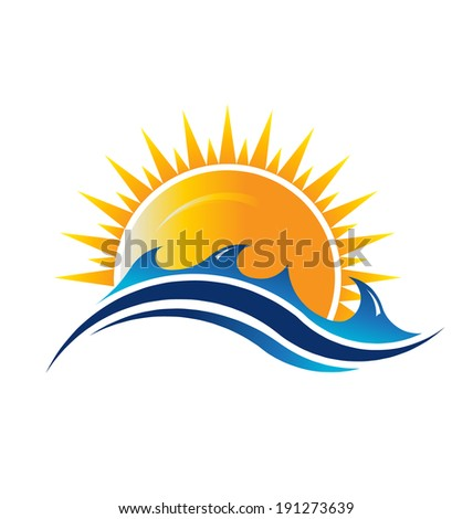 Sea and sun season icon Abstraction of summer season This icon serves as idea of summer time,beach relax ,sunny ocean, waves beach, surf adventure, sunset day