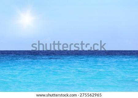 Sea and sunset - stock photo