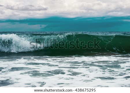Sea and waves during storm. Natural composition. - stock photo