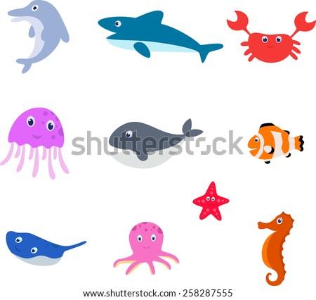 Sea animal cartoon - stock photo