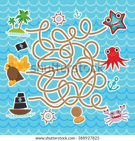 sea animals, boats pirates. cute sea objects collection labyrinth game for Preschool Children.