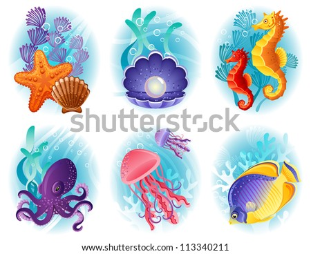 Sea animals icon set - raster version - stock photo