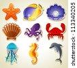 Sea animals stickers icon set - raster version - stock photo