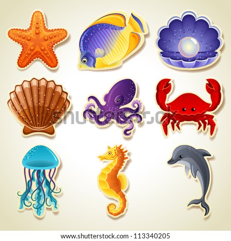 Sea animals stickers icon set - raster version - stock photo
