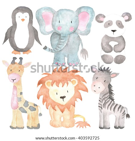 Sea Animals Watercolor Illustrations Set Isolated on the white - stock photo