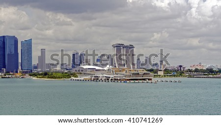 Sea approach to the port of Singapore - stock photo