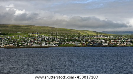 Sea approach to Torshavn, the capital of the Faroe Islands, which are located midway between Iceland and Northwest Scotland, United Kingdom
