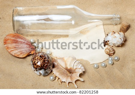 sea arrangement of empty messages with a bottle, seashells pearls - stock photo