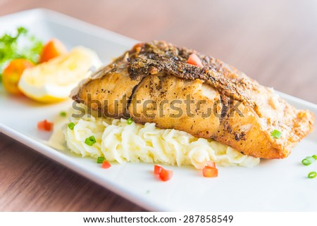 Sea bass grilled steak