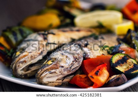 Sea bass with grilled vegetables