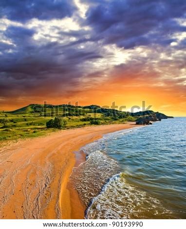 sea bay at the dramatic sunset - stock photo