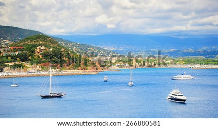 Sea bay panorama with luxury yachts and boats. French Riviera, Azure Coast or Cote d Azur, Provence, France  - stock photo