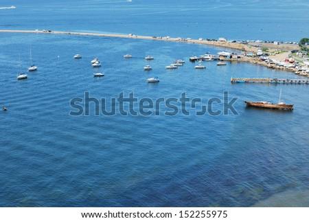Sea bay with yachts - stock photo