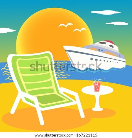 Sea, beach and yacht at the sunset illustration scene - stock photo