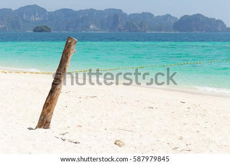 Sea beach at islands with mountain seascape, Thailand ocean travel background.
