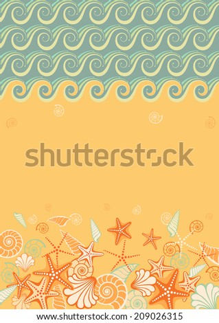 Sea beach background with starfish and shells. Vintage illustration for print, web - stock photo