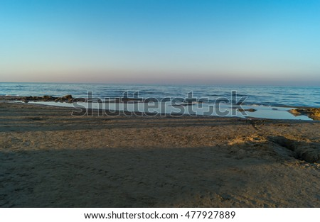 Sea, beach before sunset