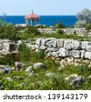 sea beach - Crimea landscape - baptistery of Ancient Greek town Khersones, Crimea, Ukraine. - stock photo