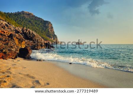 Sea beach in Alanya, Turkey - stock photo