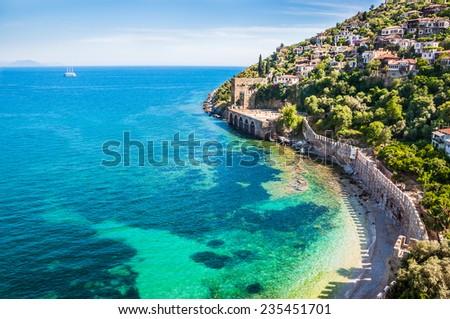 Sea beach in Alanya, Turkey. Beautiful summer landscape - stock photo