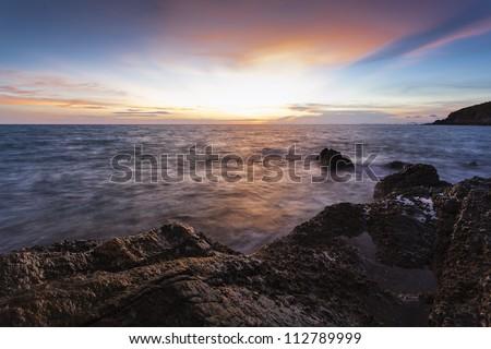 sea beach in sunset landscape image - stock photo