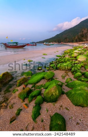 Sea beach with a round green stones at sunset and wooden fishing boats. - stock photo