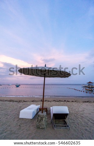 sea Beach with chair during sunset in bali , indonesia