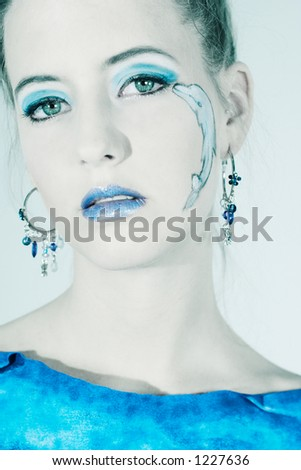 Sea Blue Beauty - Beautiful model with blue dolphin make up
