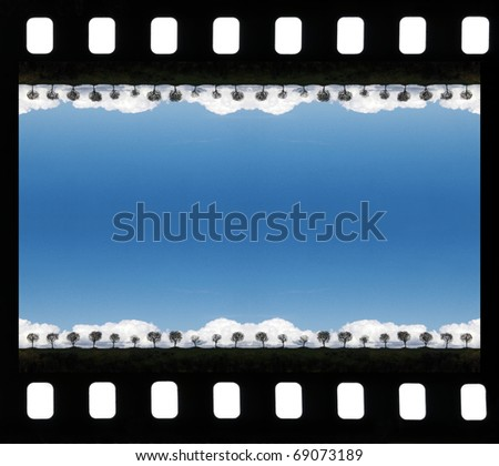 Sea blue lagoon in a film frame - stock photo