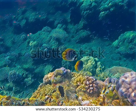Sea bottom landscape with tropical fish and yellow coral. Undersea view digital illustration. Coral reef animals in wild nature. Colorful snorkeling image for banner template or aquarium wallpaper