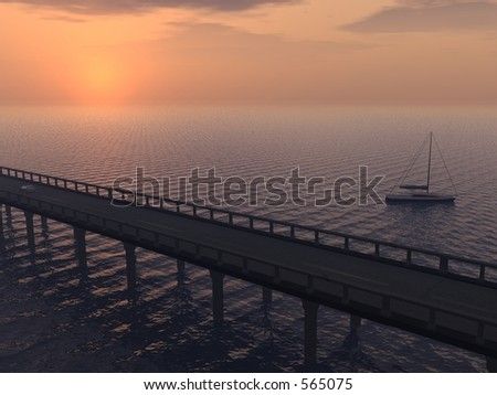 Sea Bridge A small boat floats in the sea next to a bridge - stock photo