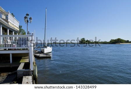 SEA BRIGHT, NEW JERSEY/USA � MAY 19: A waterfront home in Sea Bright New Jersey on May 19 2012. Many of these homes were devastated during Hurricane Sandy in 2012. - stock photo