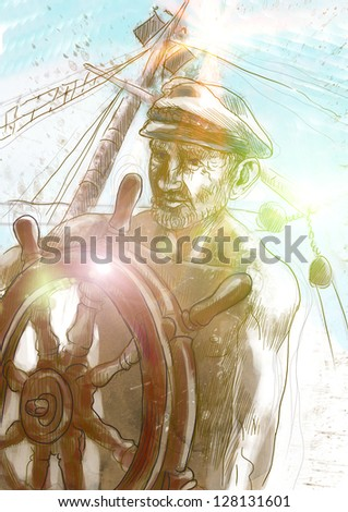 Sea Captain, The Leader. /// Full sized hand drawing illustration. - stock photo
