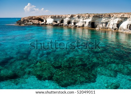 Sea caves near Cape Greko. Mediterranean Sea - stock photo