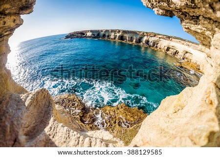 Sea caves near Cape Greko. Mediterranean Sea. Cyprus. - stock photo