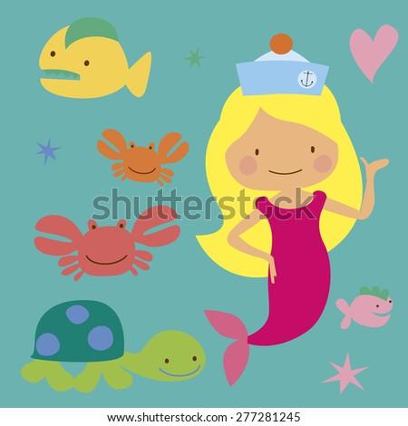 Sea characters and cute mermaid Illustration Raster version - stock photo