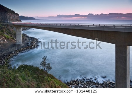sea cliff bridge / costal bridge - stock photo