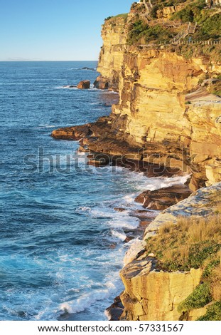 Sea cliffs near Bondi beach, Sydney, Australia - stock photo