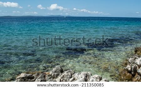 Sea coast and beach at Petrcane, Zadar, Croatia - stock photo