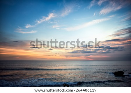 Sea coast during sunset, nature, wildlife, summer. - stock photo