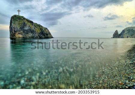 sea coast of Crimea, Ukraine - stock photo
