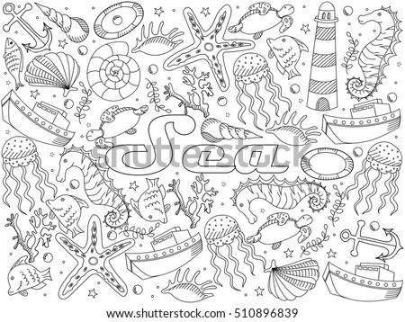 Sea coloring book line art design raster illustration. Separate objects. Hand drawn doodle design elements.