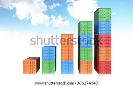 Sea containers of different colours arranged as bar chart. Front view. Sky at background. Concept of shipping. 3D rendering